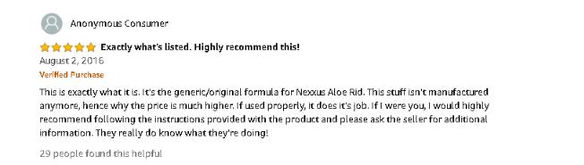 nexxus aloe rid ingredients